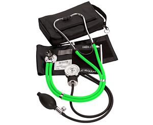 Aneroid Sphygmomanometer / Sprague-Rappaport Stethoscope Kit, Adult, Neon Green