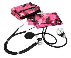 Aneroid Sphygmomanometer / Sprague-Rappaport Stethoscope Kit, Adult, Ribbons and Hearts Pink