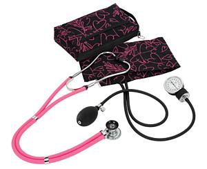 Aneroid Sphygmomanometer / Sprague-Rappaport Stethoscope Kit, Adult, Pink Hearts Black, Print