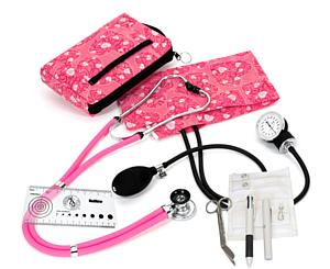 Aneroid Sphygmomanometer / Sprague-Rappaport Stethoscope Nurse Kit, Adult, Hot Pink Hearts, Print