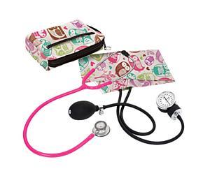 Aneroid Sphygmomanometer / Clinical Lite Stethoscope Kit, Adult, Owls Cream, Print