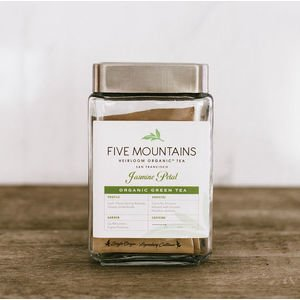 "Wrapped Tea Sachet Glass Storage with Five Mountains Label (4""w x 7""h)"